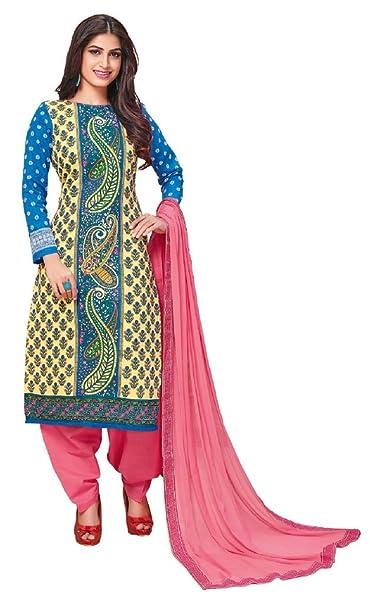 33302ef835 JAIPUR FABRICS Unstitched Printed Cotton Dress Materials-Chiffon Dupatta:  Amazon.in: Clothing & Accessories