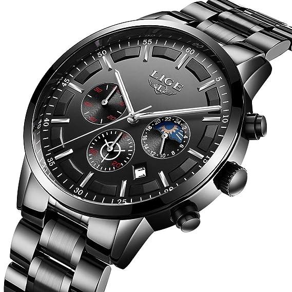 Relojes hombre Top Brand Luxury LIGE Business Reloj de cuarzo analógico Reloj para hombre impermeable de acero inoxidable Reloj para hombre Classic Black ...
