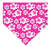SAE Supply Hawaiian Beach Floral Pet Dog Cat Puppy Bandanna Bibs Triangle Scarf for Small to Large Breed (XL, Pink)