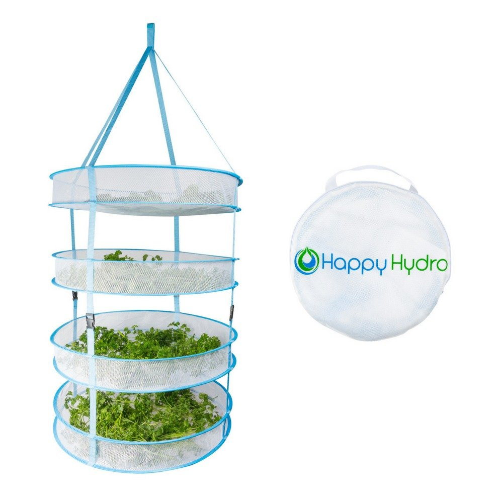 Hanging Plant and Bud Drying Rack, Hanging Plant and Bud Drying Rack, 4 Tier Collapsible Hydroponic Dry Net with Carry Bag 0.6 meter x 1.2 meter (24 inch x 48 inch) Happy Hydro