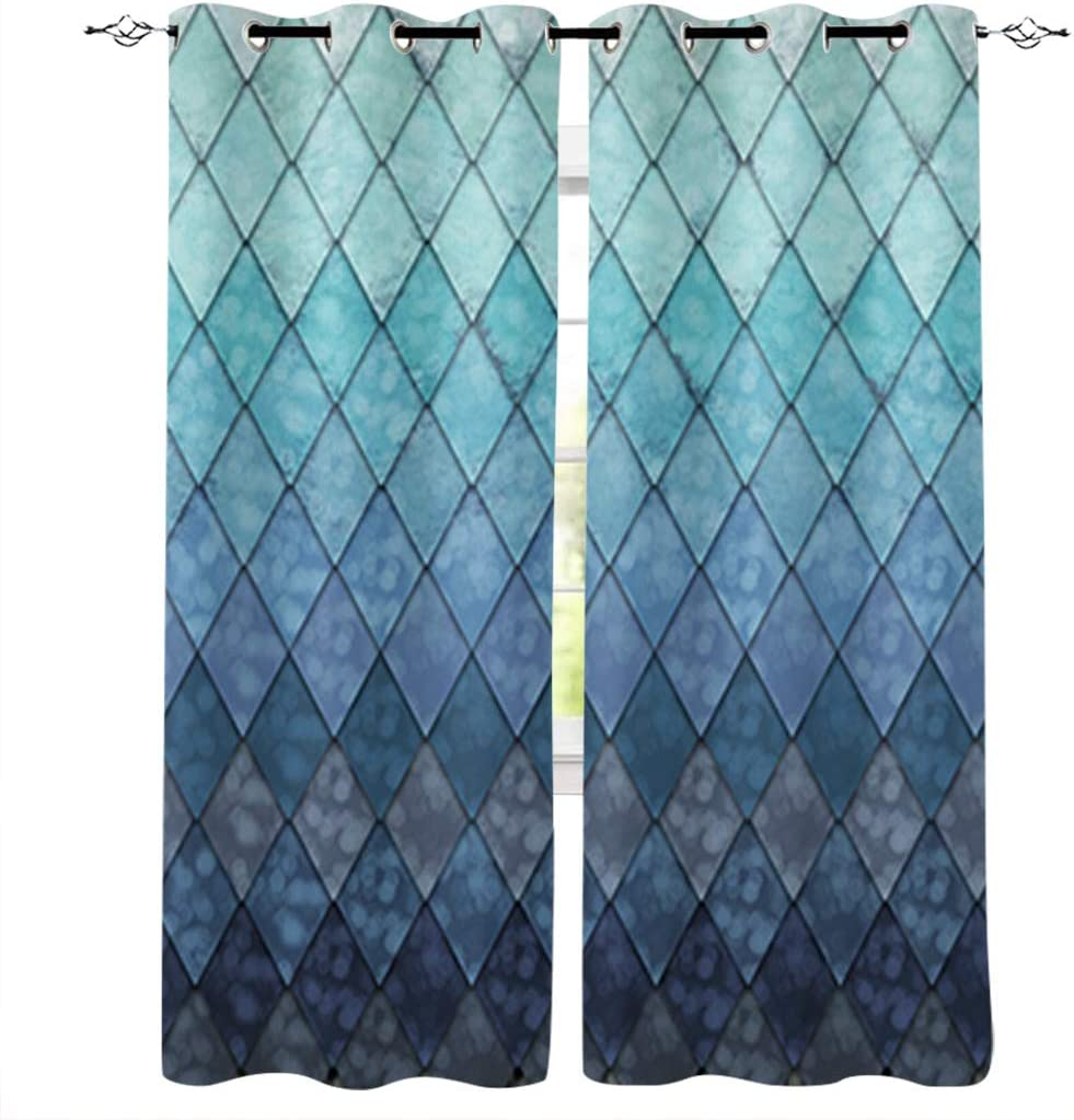 "Window Curtains with Grommets Kitchen Drapes, Backdrop Ocean Blue Teal Mer-Maid Fish Scales Geometric Rhombus, 2 Panels Window Treatment Drapes for Living Room/Bathroom/Office 55"" W x 39"" L"