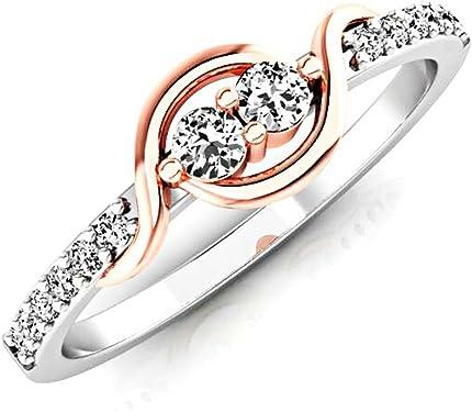 anillo de pedida oro rosa con diamantes