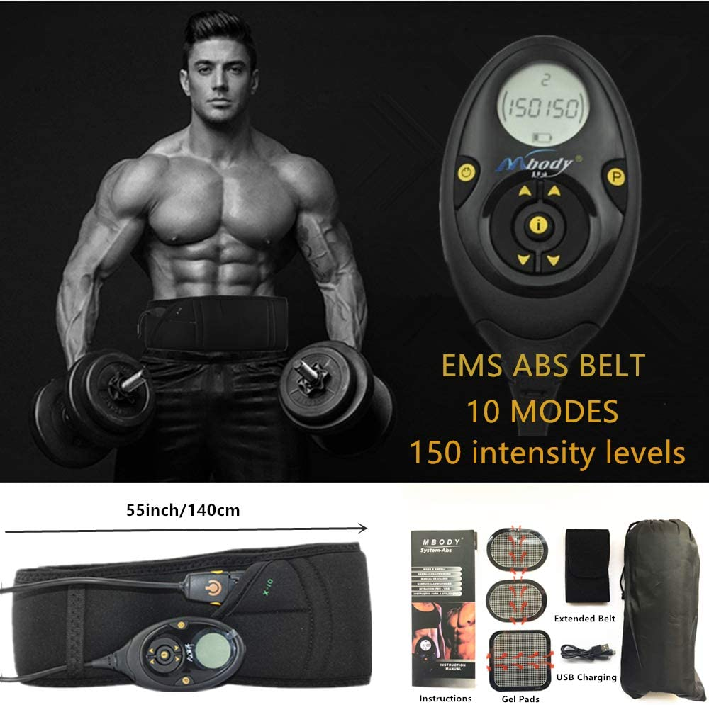 MBODY Pro EMS Abdominal Muscle Training Gear Toner Belt ABS Workout Toning Belts Home Exercise Fitness Set