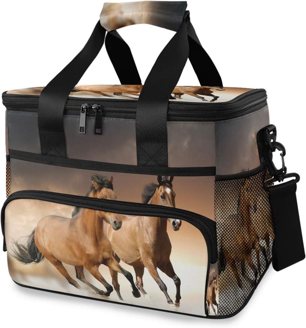 Bolsa de almuerzo Hombres Cooler Box Ice Pack Correa para el hombro Picnic portátil Caballo Correr
