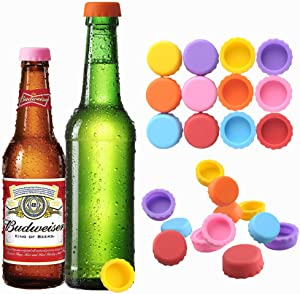 Beer Silicone Rubber Bottle Caps Saver (24 Pack Multicolored) Joso Bottle Stopper for Home Brewing Beer, Soft Drink, Wine Bottle, Beer Bottle, Soda Bottle Kitchen Gadgets