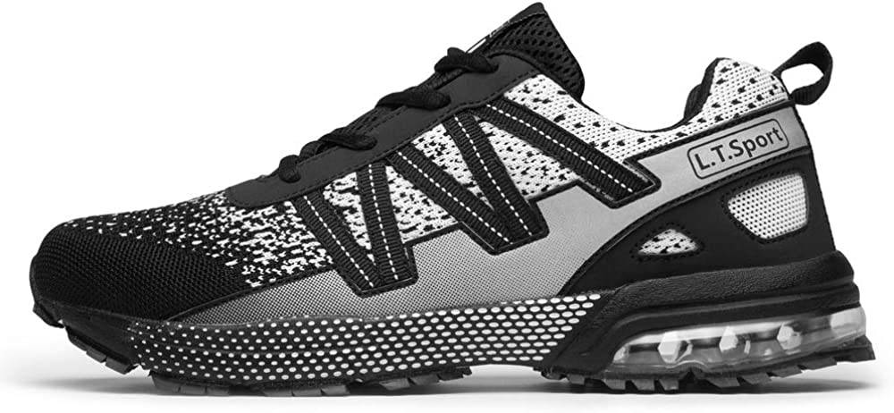 Fitory Homme Femme Chaussure De Sports Course Sneakers Mesh Respirant Basket Outdoor Running Fitness Shoes Taille 36-46 Eu Noir Et Blanc