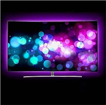 Flow.month Retroiluminación de TV LED, tira de LED USB de 2 m Televisor LED RGB RGB Retroiluminación de TV, adecuado para HDTV de 40 a 60 pulgadas, pantalla de TV y espejo: