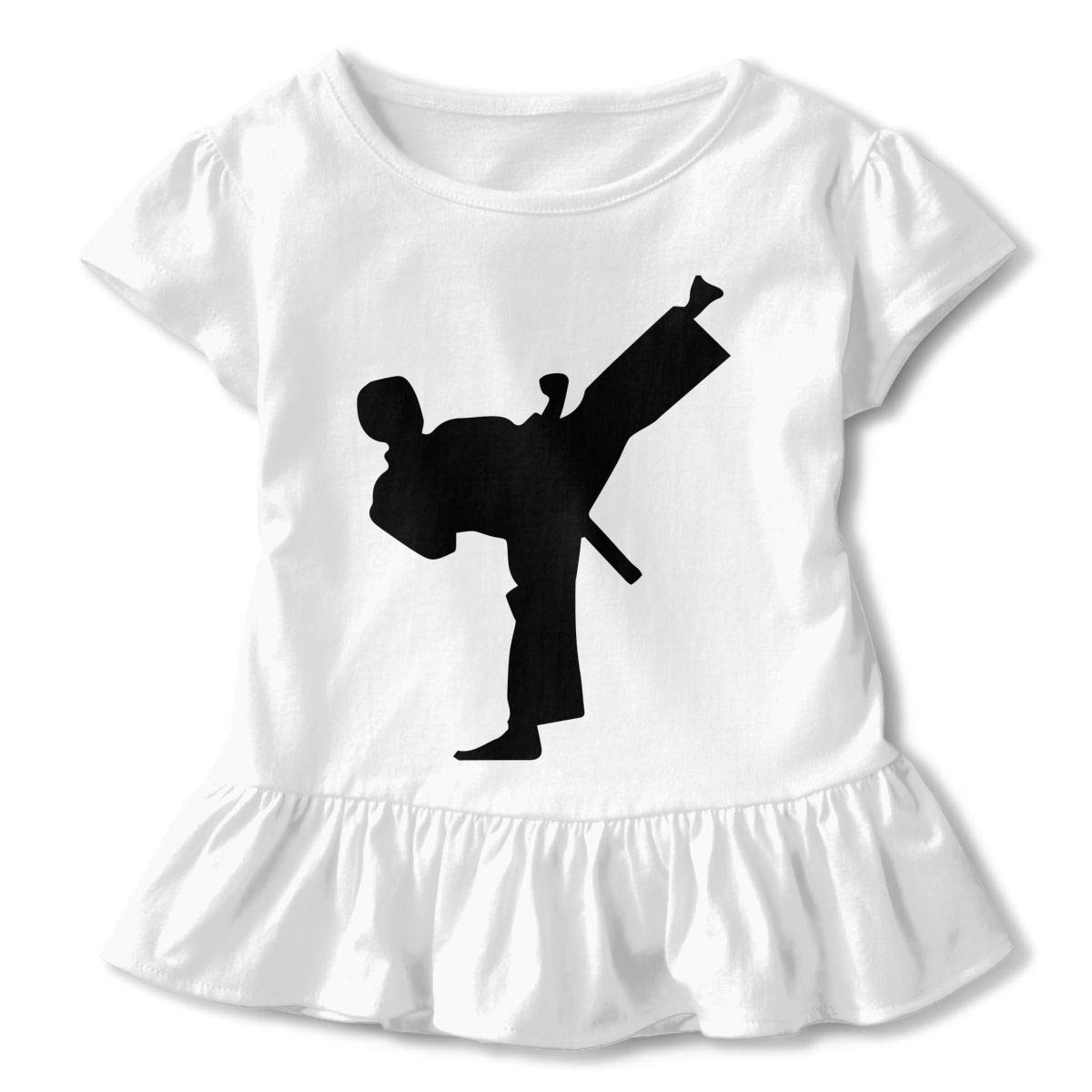 Taekwondo Silhouette Toddler//Infant Girls Short Sleeve Shirts Ruffles Shirt Tee for 2-6T