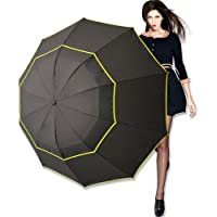 Kalolary 62 Inch Extra Oversize Large Compact Golf Umbrella,Double Canopy Vented Windproof Waterproof Stick Umbrellas for Women & Men