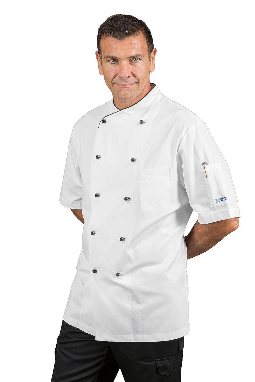 Giacca cuoco pechino mezza manica bianco//nero isacco M