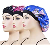 3 Pack Satin Sleep Caps for Women & Girls, Wide Band Satin Bonnet Sleeping Cap Night Hat Head Cover for Natural Hair…
