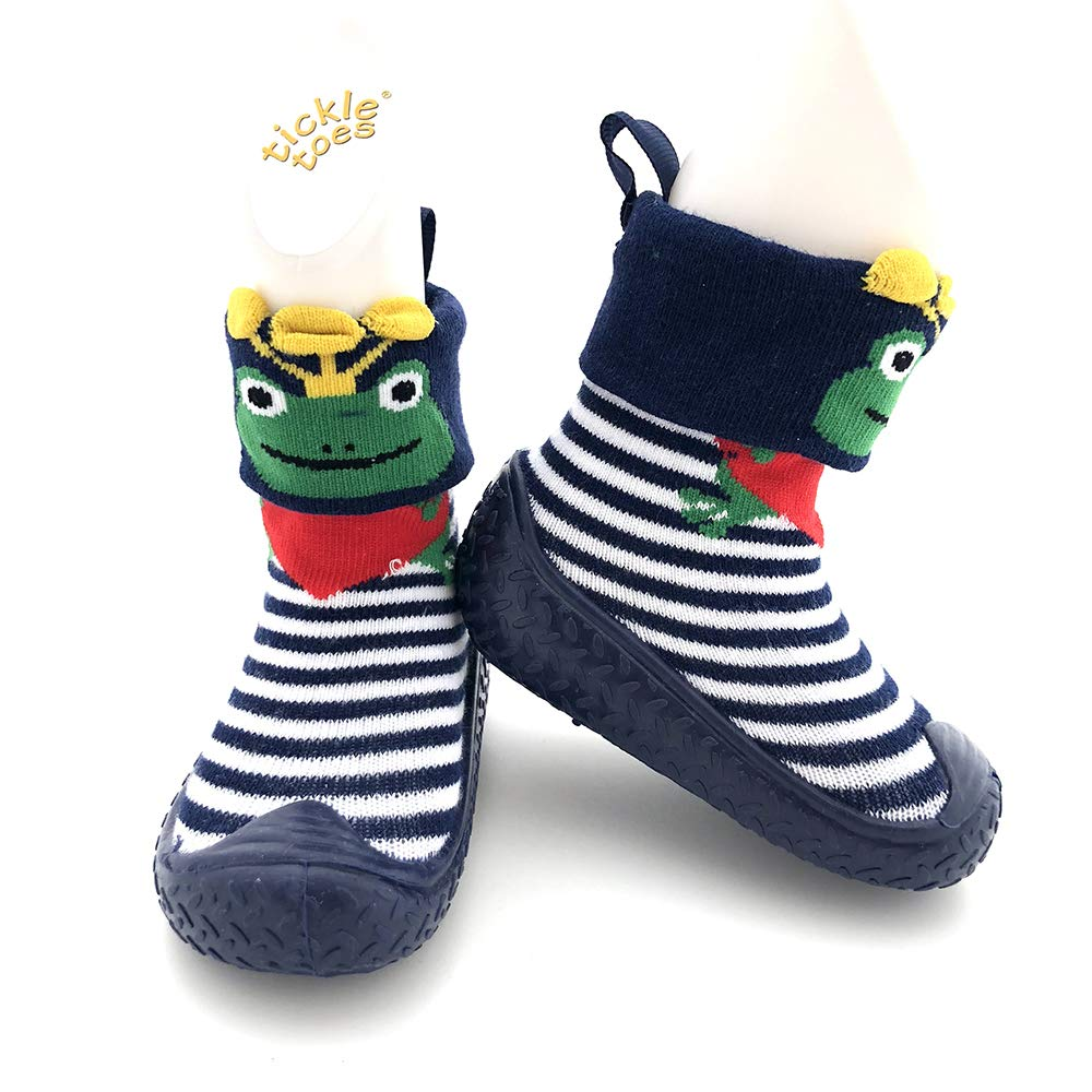 Tickle Toes Navy /& Green Frog Non Skids Proof Shoes 6857