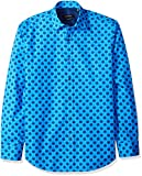 Bugatchi Men's Bubbles Print Shaped Fit Point Collar Shirt, Cobalt, M