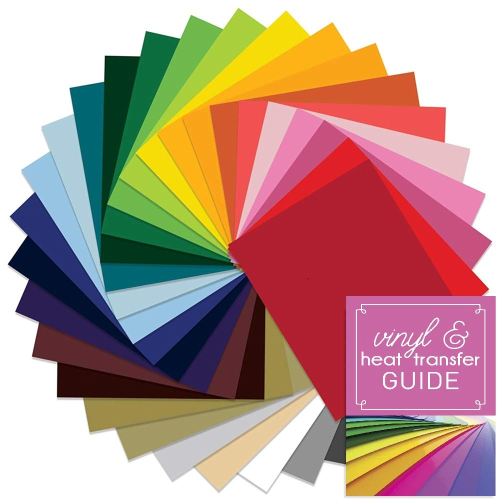 SISER EasyWeed Heat Transfer Vinyl, 12 Inch x 15 Inch 29 Color Assorted Starter Bundle with Application Guide