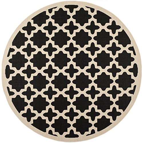 Amazing Safavieh Courtyard Collection CY6913 266 Black And Beige Indoor/ Outdoor  Round Area Rug (4u0027 Diameter)