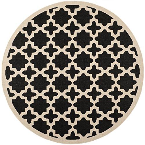 Black Beige Rug - Safavieh Courtyard Collection CY6913-266 Black and Beige Indoor/ Outdoor Round Area Rug (5'3