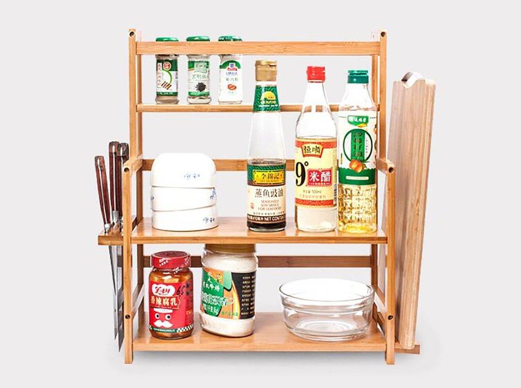 SHtlj Especieros Estantería de Cocina Madera Sazonadores Suministros de Cocina  Estantes 2 3 Capas Piso Multifunción Cocina Acabado Rack (Tamaño   41.5    18 ... db21d6dc945f