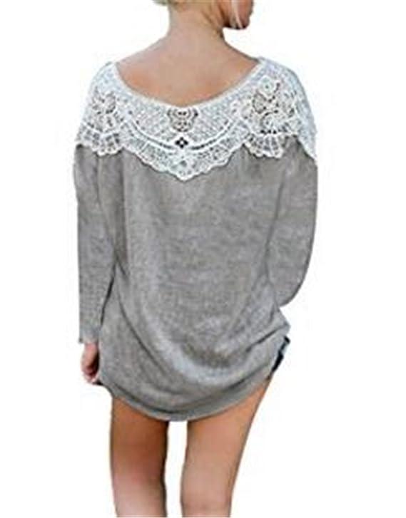 Tayaho Camisetas Mujeres Blusas De Encaje Flores Lace Crochet Camisas Camisetas Manga Larga T Shirt Ocasionales Clasicos Tops Elegantes Bonitas: Amazon.es: ...