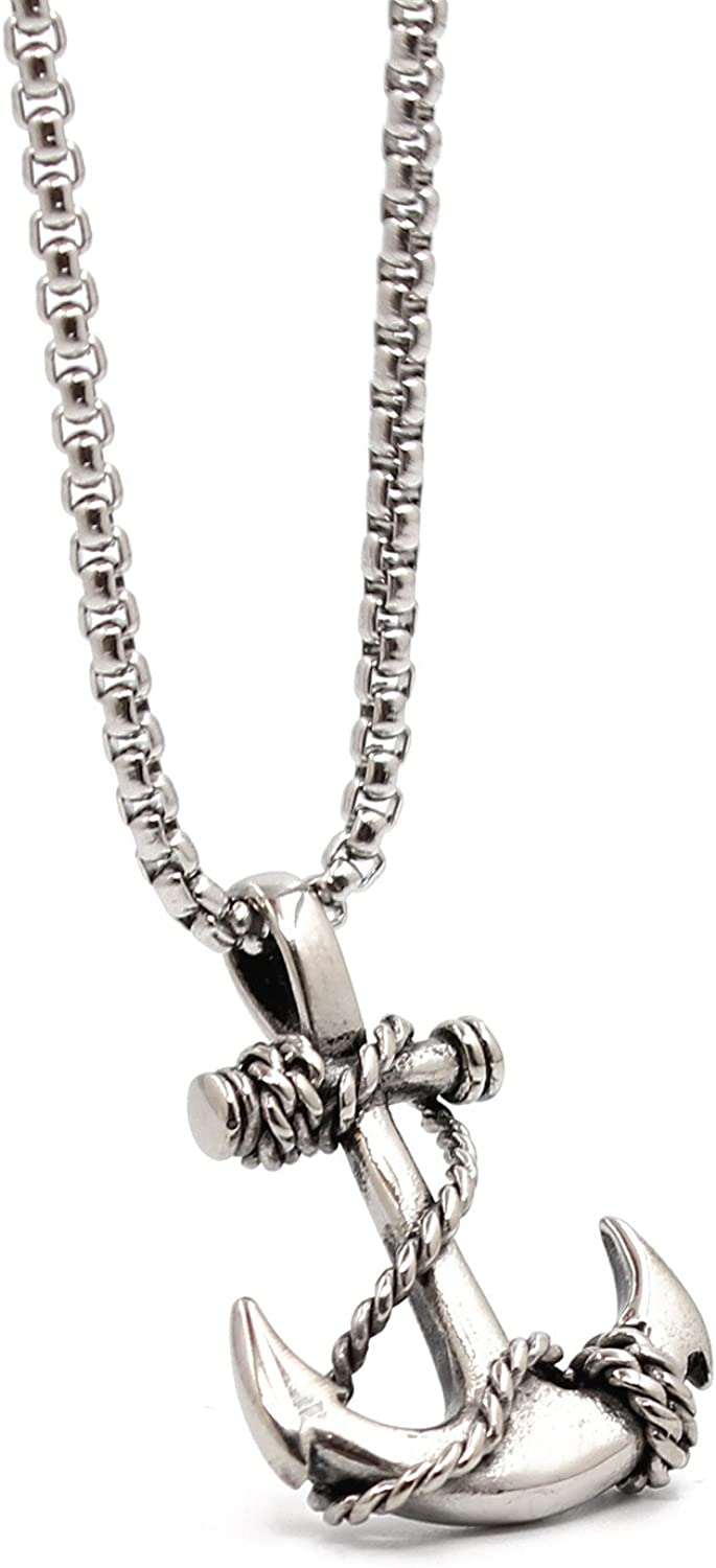 VACANALA Mens Nautical Anchor Necklace Stainless Steel Pirate Pendant Necklaces with 24 inch Chain