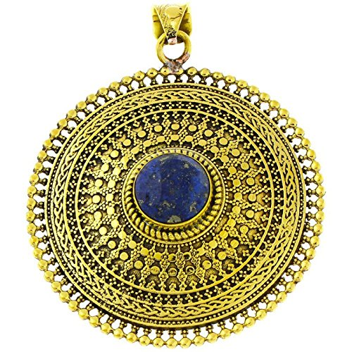 Brass pendant Lapis circles Plait 63mm faceted antique golden chain nickel free jewelry Tribal