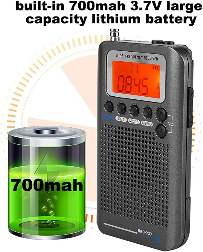 Tonysa Escáner de Receptor de Radio multibandas Escáneres/de Mano/Bandas de frecuencia: Air FM Am CB SW VHF Incorporado en batería portátil Recargable ...