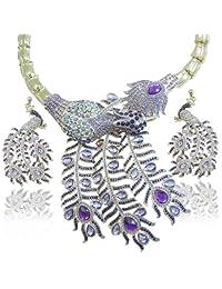 Ever Faith Peacock Clear Austrian Crystal Huge Necklace Earrings Set