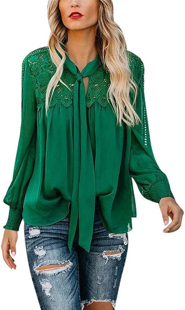Camisetas Mujer Verano Sexy Blusas para Mujer Elegantes Camiseta de Manga Larga con Cordones y Encaje para Mujer Soild Camisa Suelta Blusa Tops