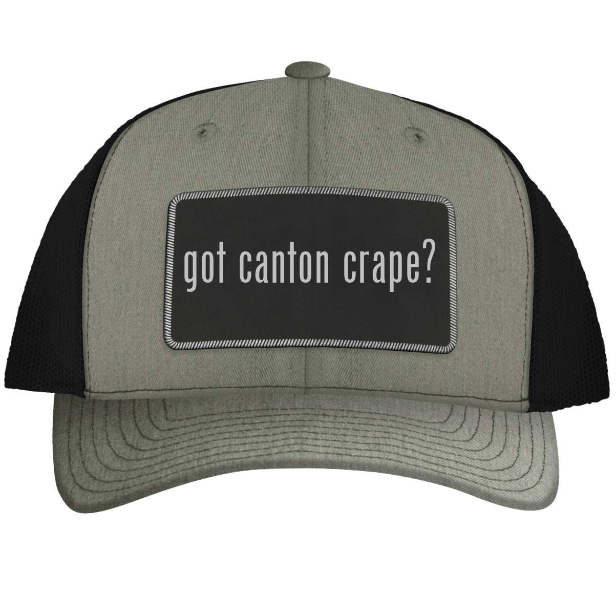 got Canton Crape? - Leather Black Metallic Patch Engraved Trucker Hat, HeatherBlack, One Size by One Legging it Around