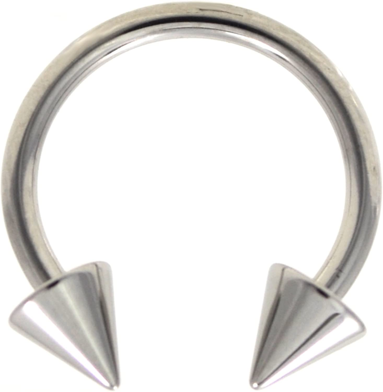Surgical Stainless Steel Septum Nose Half Hoop Ring Black Spikes 14g 14 gauge