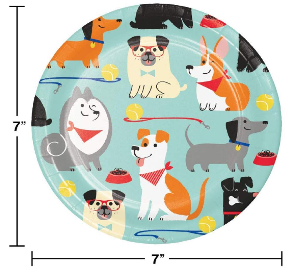 48 Count Dog Party Dessert Plates