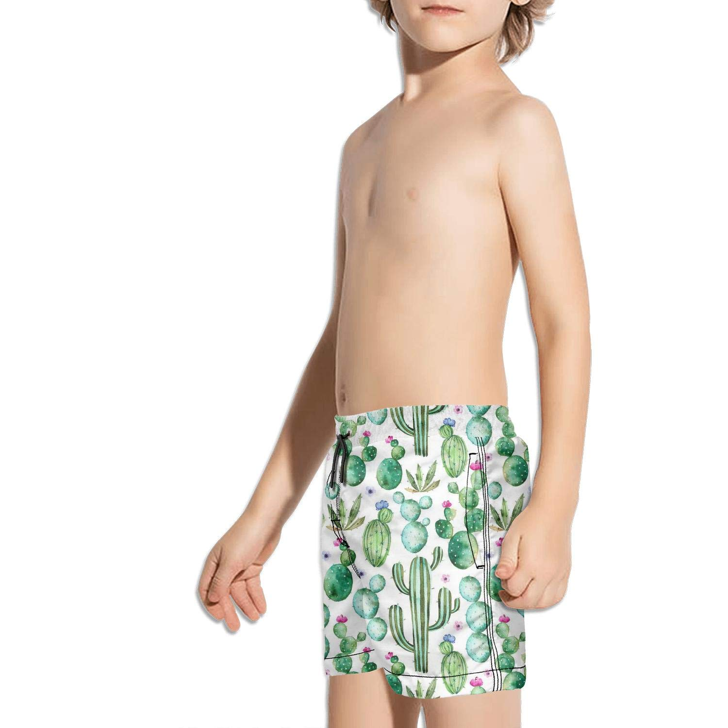 Etstk Watercolor Cactus Kids Durable Beach Shorts for Boys