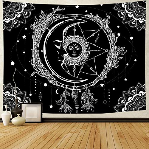 Moon and Sun Tapestry Psychedelic Bohemian Mandala Wall Tapestry Black and White Indian Hippy Celestial Tapestry Starry Dreamcatcher Tapestry Wall Hanging for Bedroom Living Room Dorm (W92.5