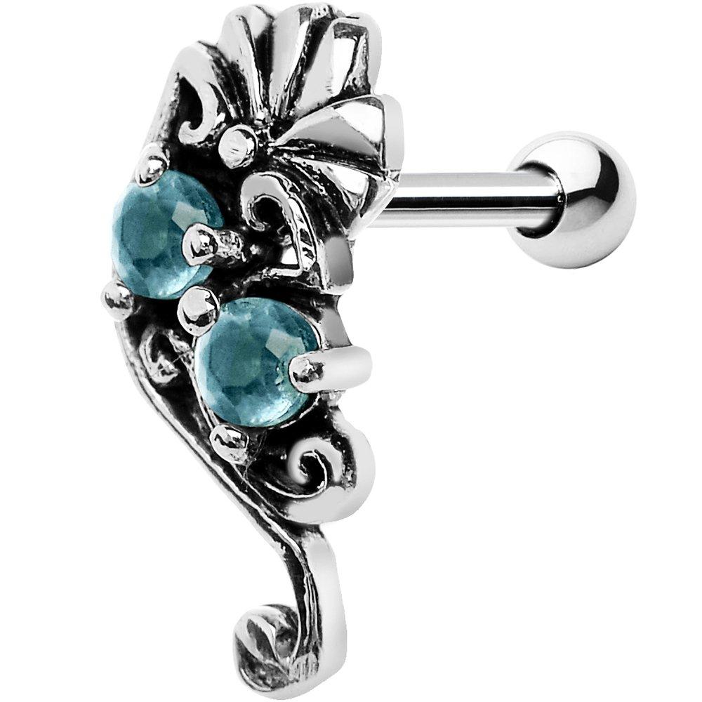 Body Candy Steel Barbell 925 Silver Brilliant Blue Fan Right Cartilage Earring 16 Gauge 1/4 45959