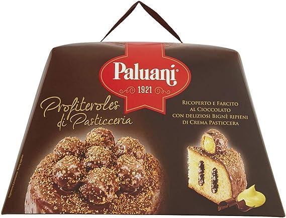 PALUANI Panettone Profiteroles Cubiertos y Rellenos de fino chocolate negro, bollos de crema rellenos de natillas, ingredientes de calidad, dulces ...