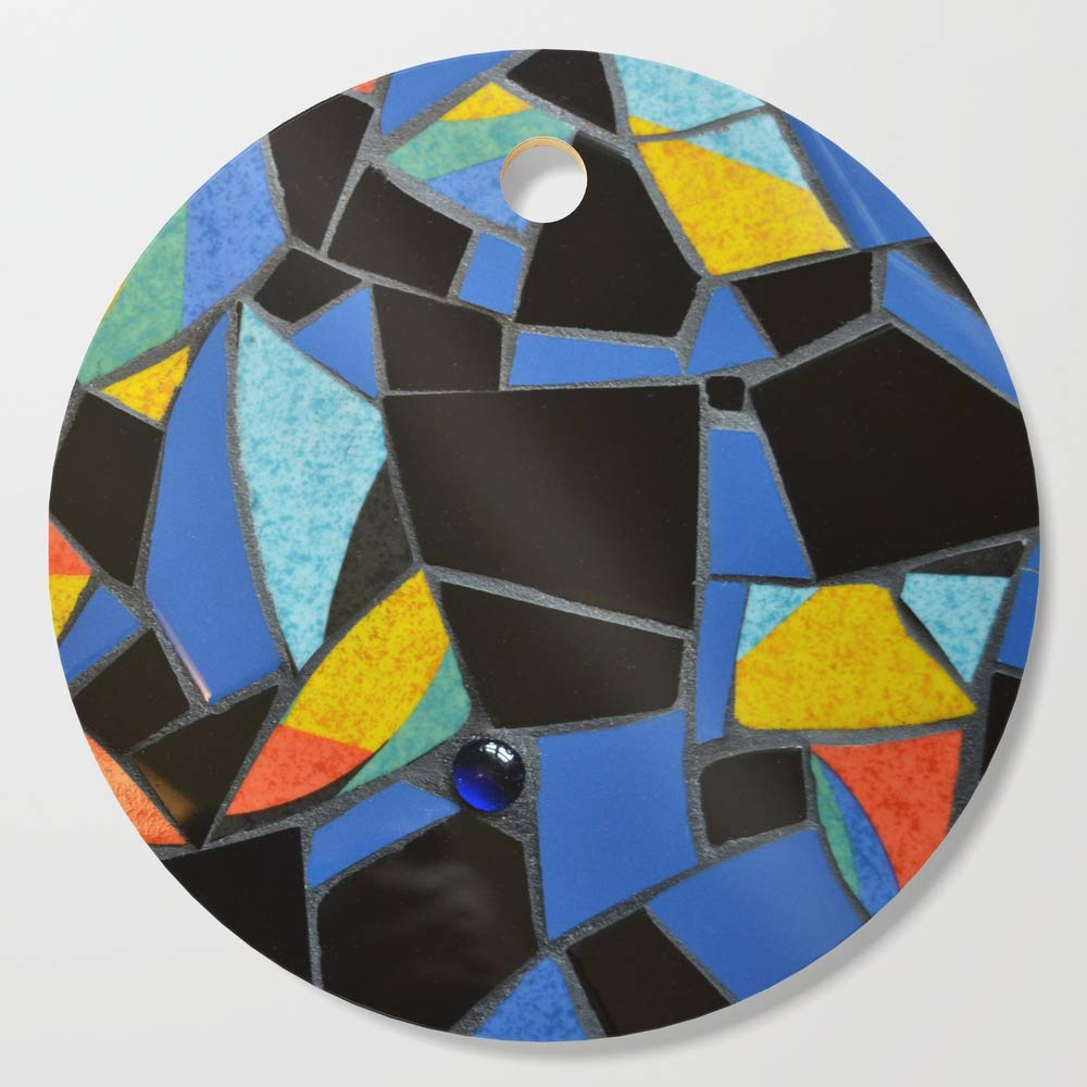 Society6 Wooden Cutting Board, Round, Toucan Dance Mosaic by summerhouseart