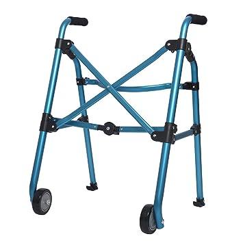 BZEI-WALKERS Azul Ligero 2.6kg Adultos Mayores Plegables Andador Andadores Asistir Escalando en el Descenso Walking Fram Aid 2 Ruedas | Aleación de Aluminio ...