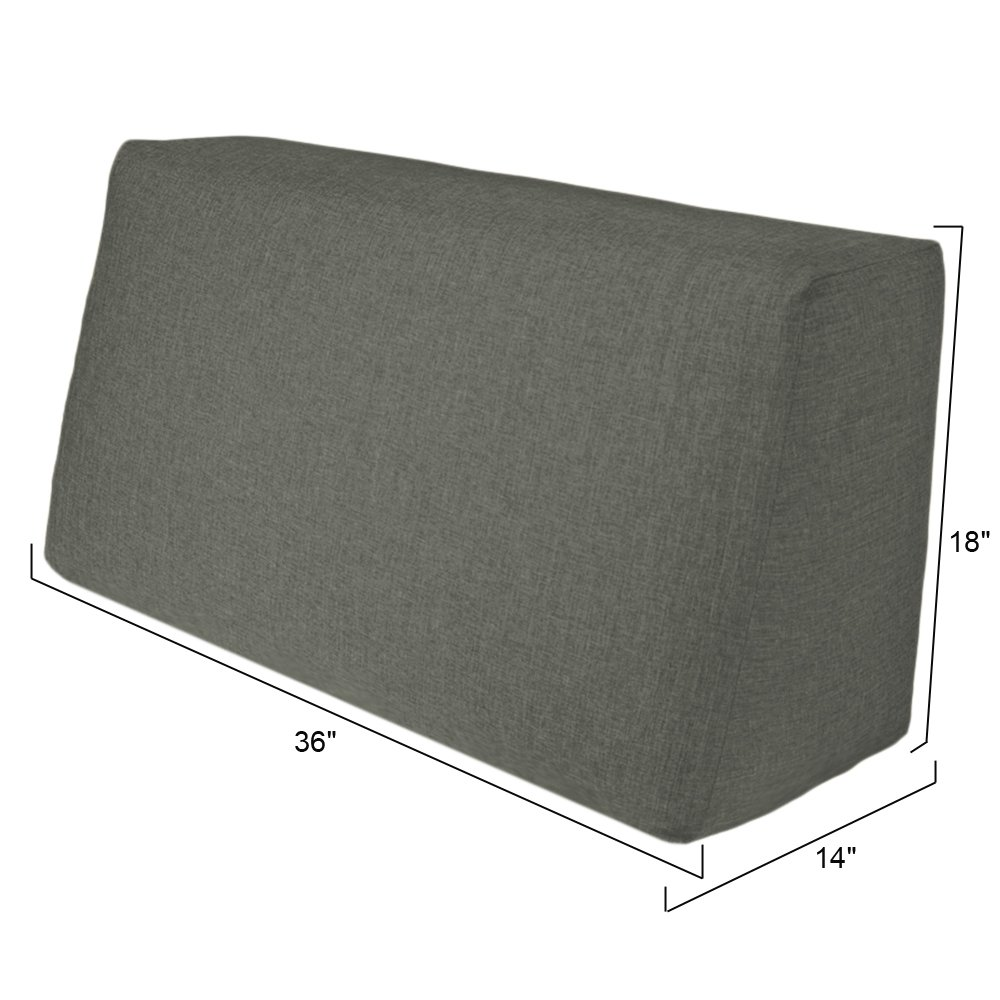 36'' Sofa Back Pillow for Modular Duobed Set or Any Daybed - Grey - Polyester Fabric