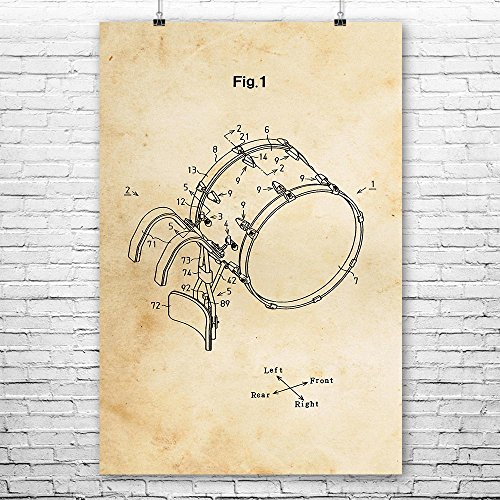 (Marching Bass Drum Poster Print, Drummer Gift, Drum Line, Marching Band, Band Coach, Music Teacher, Drum Corps Vintage Paper (11