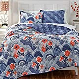 KD Spain Hills and Valleys Cotton Quilt Sham Set, Blue, Twin
