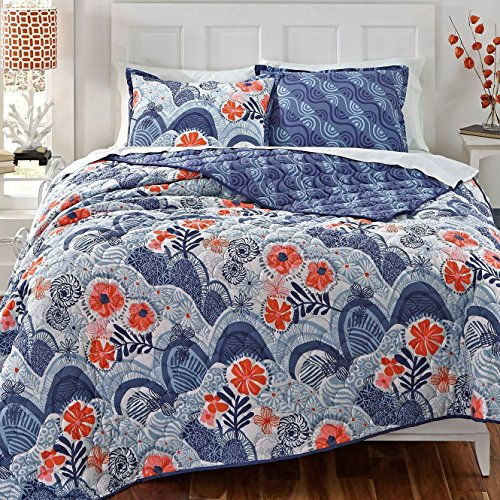 KD Spain Hills and Valleys Cotton Quilt Sham Set, Blue, Twin by KD Spain