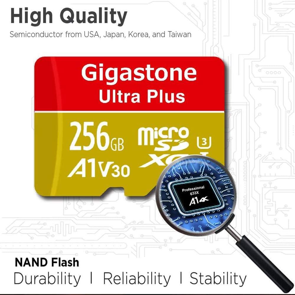 U3, V30, A1 y Clase 10 , Adaptador Gratuito Alta Velocidad de Lectura // Escritura hasta 100//80 MB // s.Adequat per a M/òbil i Switch etc. Gigastone Tarjeta de memoria 256GB MicroSDXC,