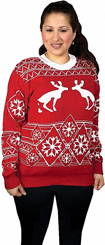 Pooping Moose Ugly Christmas Sweater- FunQi, Red