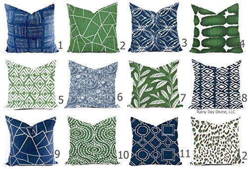 Pillow Cover Navy Blue Italian Denim Pine Green Custom