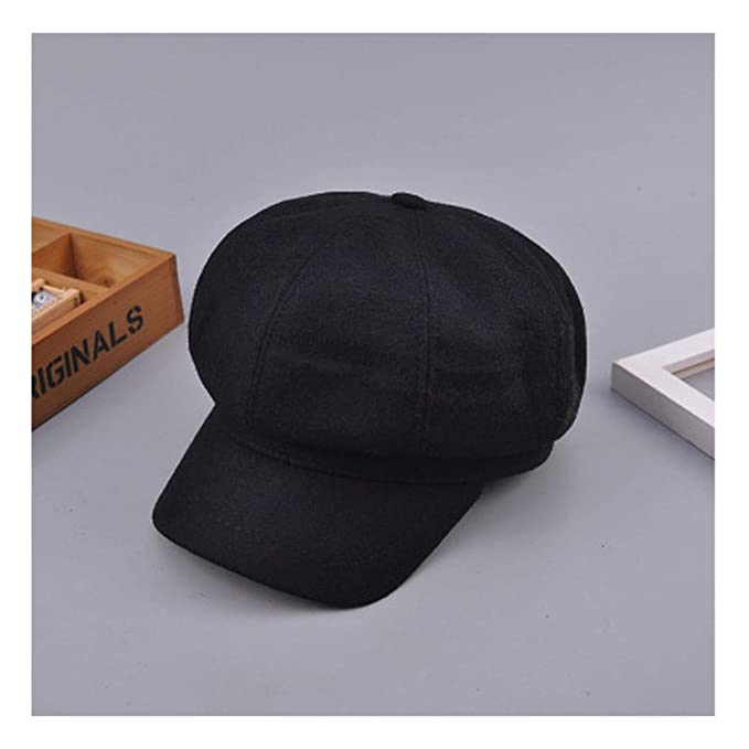 8cd8fc5d438c3 Autumn Spring Wool Beret Cap Men Women Plain Solid Octagonal Newsboy Cap  Vintage Painter Artist Female Beret at Amazon Women s Clothing store