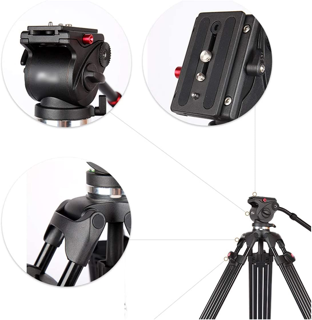 CJGXJZJ Camera Tripod 1.85 M Professional Camera Hydraulic Damping PTZ Set Micro Movie Wedding Video DV Video Conference Video Video SLR Tripod Aluminum Bracket Tripod Design : B