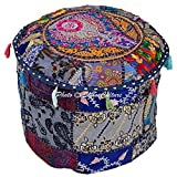 Stylo Culture Cotton Patchwork Embroidered Ottoman Stool Pouf Cover Blue Floral Hassock Pouffe Case 40 cm Footstool Floor Cushion Cover Ethnic Decor