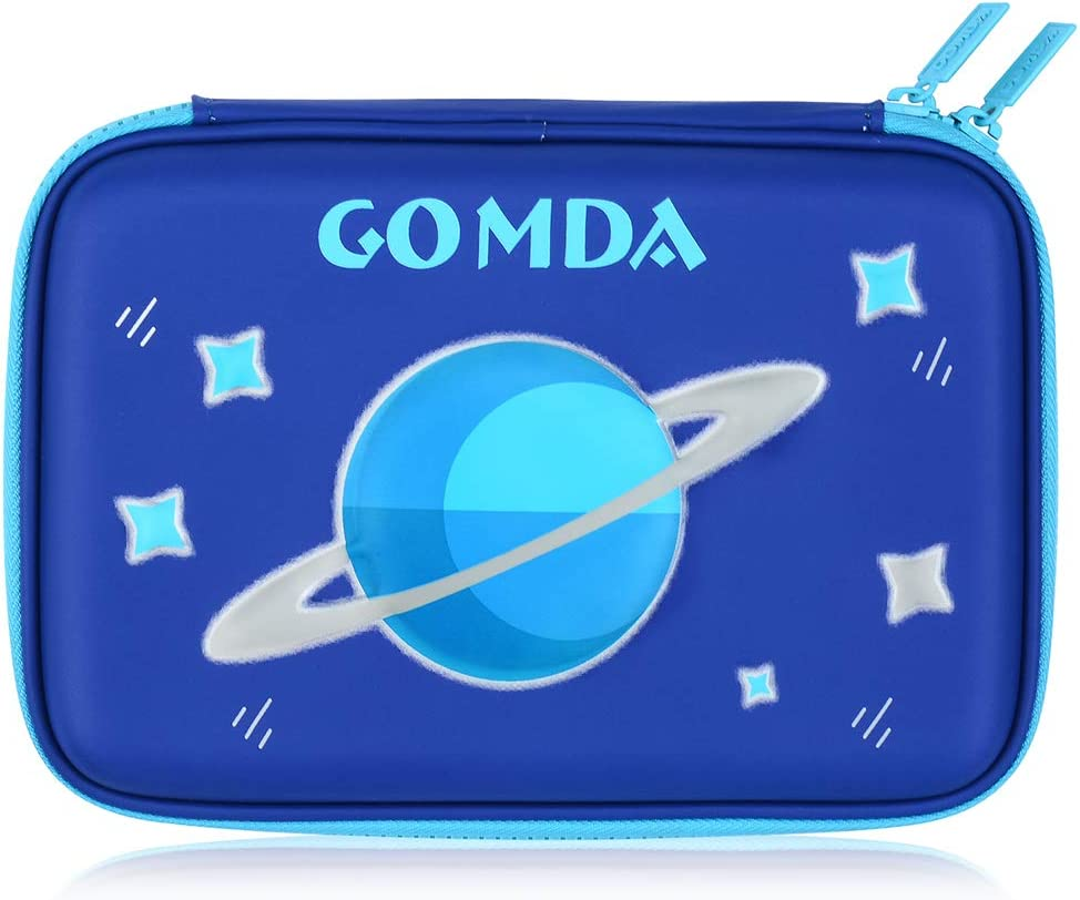 Green with Compartments and Zipper- GOMDA Pencil Case-Deluxe Large Capacity Hardtop Pencil Box