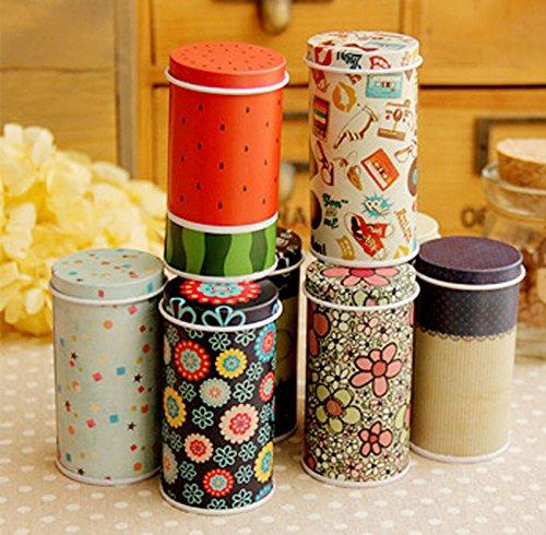 Fashionclubs 5pcs/set Metal Colorful Round Tea Storage Tins,Sugar Candy Containers Boxes,Random Color