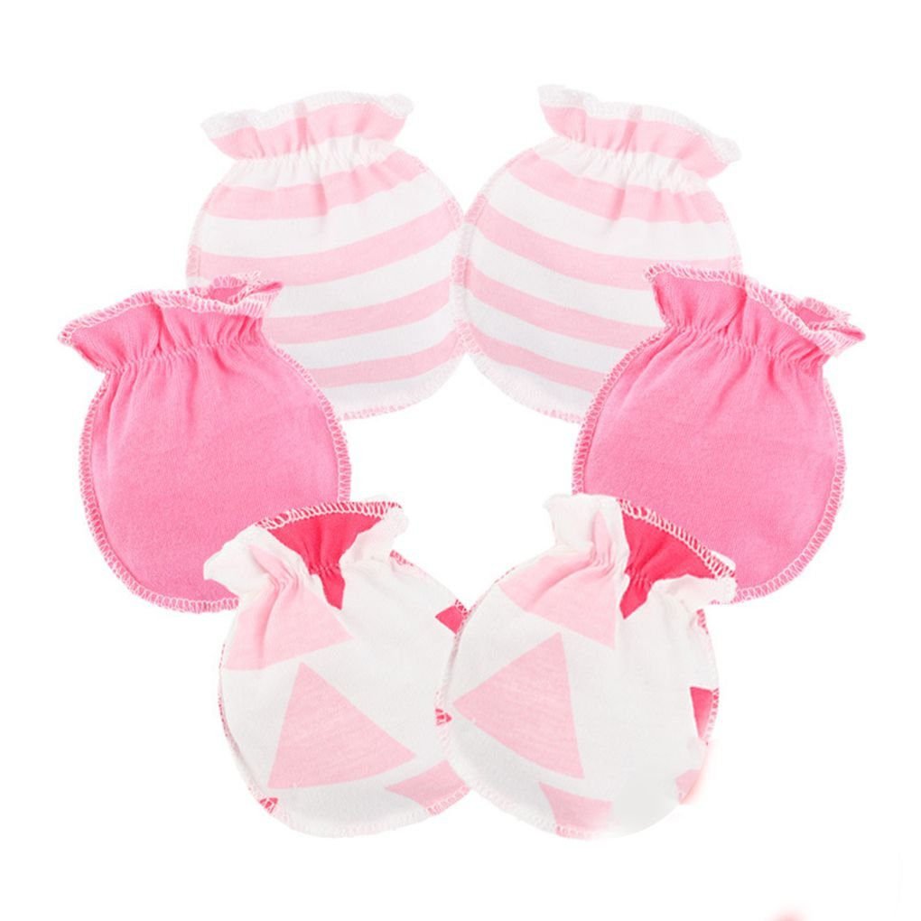 Meisijia 3 Paare Baby-Kind-weiche Baumwollhandschuhe Gummiband No Scratch Neugeborenes Kleinkind F/äustlinge Hell-Pink