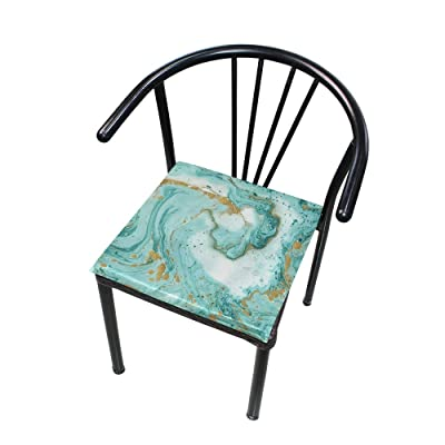 """HNTGHX Outdoor/Indoor Chair Cushion Marble Texture Painting Square Memory Foam Seat Pads Cushion for Patio Dining, 16"""" x 16"""": Home & Kitchen"""